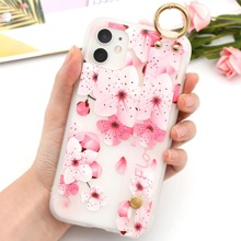 Floral Pattern Hand Strap iPhone Case