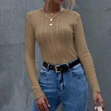 Einfarbiger Strick Pullover mit rundem Kragen