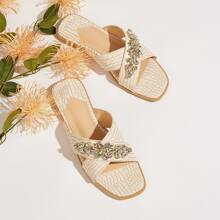 Gemstone Decor Cross Strap Slide Sandals