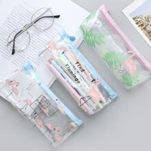 1 Stueck Zufaellige Bleistifttasche mit Flamingo Muster
