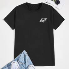 T-Shirt mit sehr tief angesetzter Schulterpartie und Planet Muster