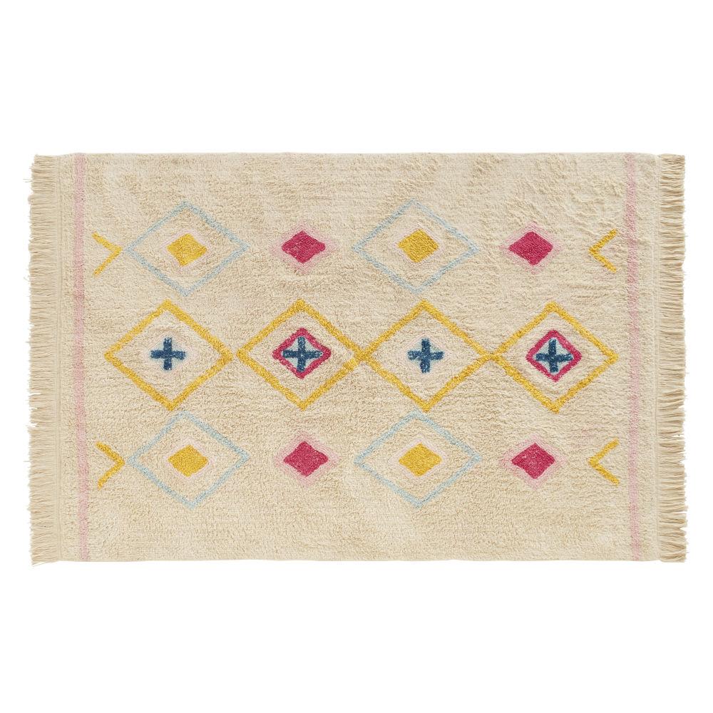 Berberteppich aus Baumwolle mit bunten Motiven, weiss 120x180