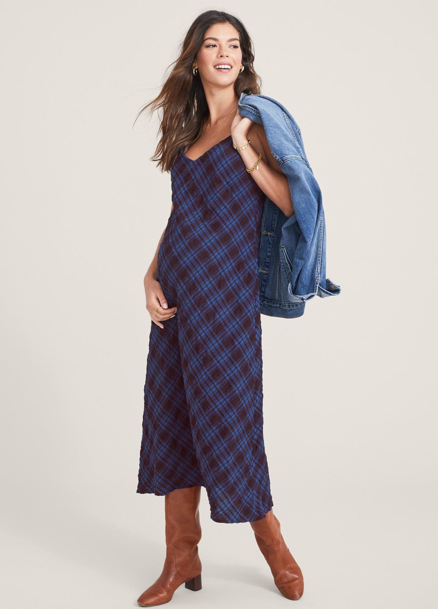 HATCH Maternity The Ricky Slip Dress, Port/navy Crinkle Plaid, Size 0