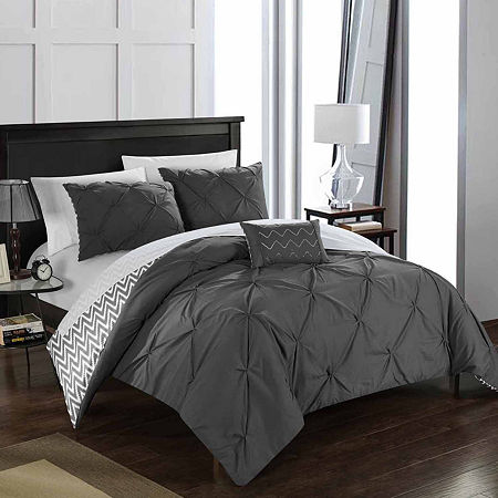 Chic Home Jacky Midweight Reversible Comforter Set, One Size , Gray