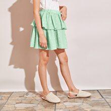 Girls Polka Dot Layered Skirt