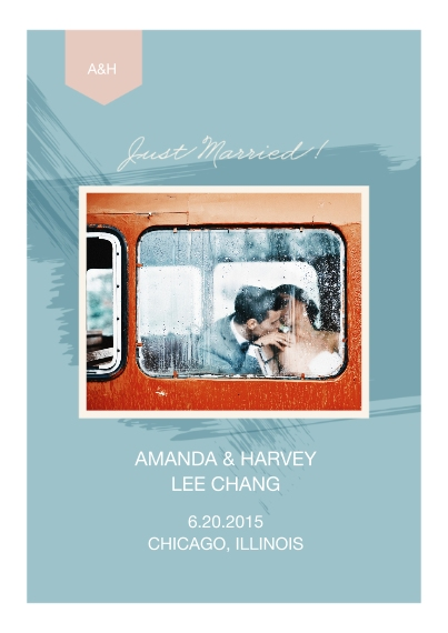 Just Married 5x7 Cards, Premium Cardstock 120lb with Rounded Corners, Card & Stationery -Paint Just Married Wedding Set