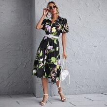 Floral Print Lantern Sleeve Belted Shirt Dress