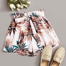 Tropical Leaf Print Paperbag Shorts