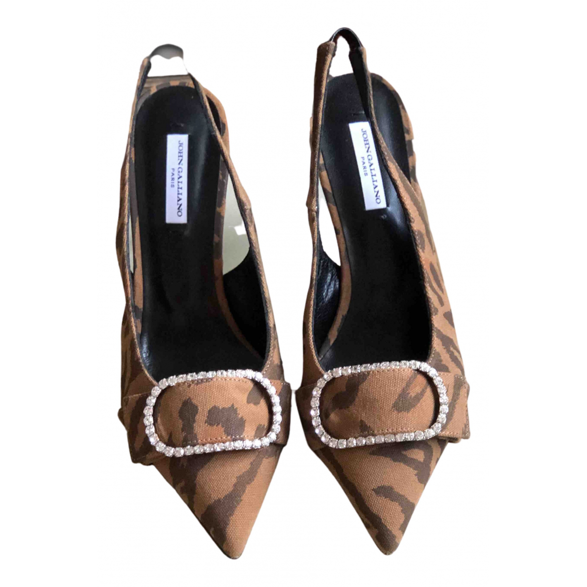 John Galliano - Escarpins   pour femme en toile - marron