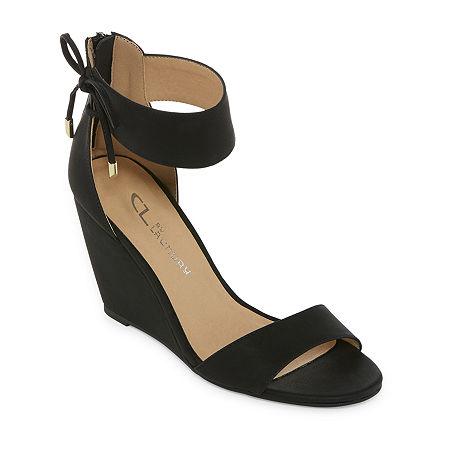CL by Laundry Womens Corie Open Toe Wedge Heel Pumps, 10 Medium, Black