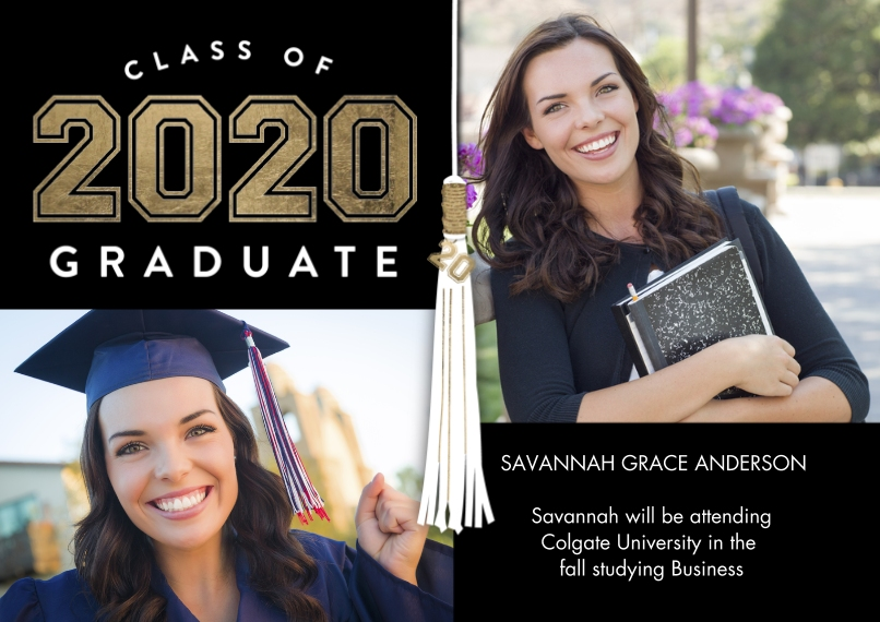 2020 Graduation Announcements 5x7 Cards, Premium Cardstock 120lb with Scalloped Corners, Card & Stationery -2020 Graduate Tassel by Tumbalina