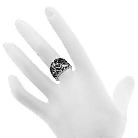 Sparkle Allure Crystal Pure Silver Over Brass Cocktail Ring, 7 , No Color Family