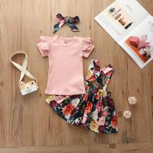 Toddler Girls Solid Rib-knit Tee With Floral Print Pinafore Skirt