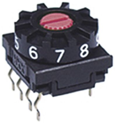 NKK Switches 10 Position, Decimal Rotary Switch, 100 mA, Through Hole