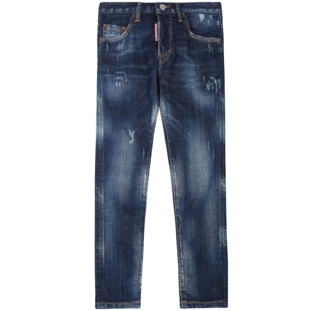 Dsquared2 Kids Distressed Skater Jeans Blue Colour: NAVY, Size: 6 YEARS