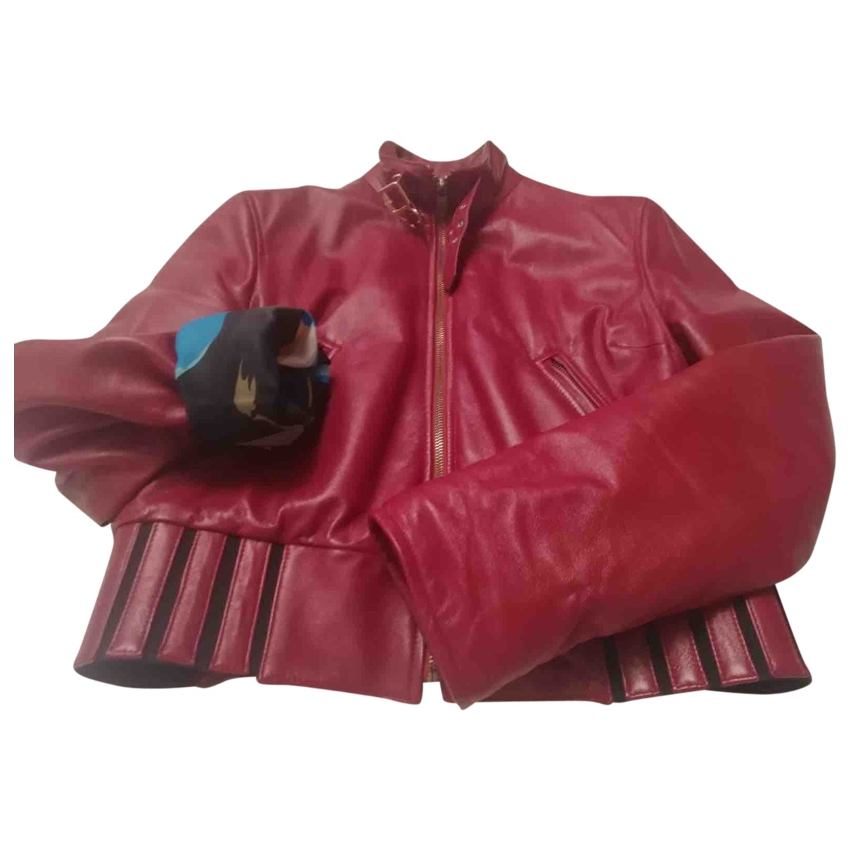 D&g \N Burgundy Leather Leather jacket for Women 46 IT
