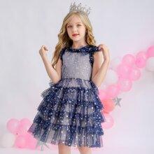 Party Kleid mit Rueschenbesatz, mehrschichtigem Saum und Stern Dekor Netzstoff