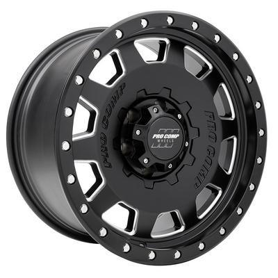 Pro Comp 60 Series Hammer, 18x9 Wheel with 6x5.5 Bolt Pattern - Satin Black Milled - 5160-898350