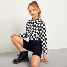Girls Flap Pocket Front Checked Crop Jacket