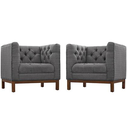 Panache Collection EEI-2436-DOR-SET Set of 2 Living Room Armchair Set with Walnut Stained Beech Wood Legs  Mid-Century Style  Plastic Foot Glides