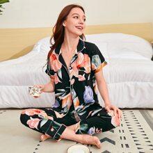 Schlafanzug Set mit grossen Blumen Muster und Reverskragen