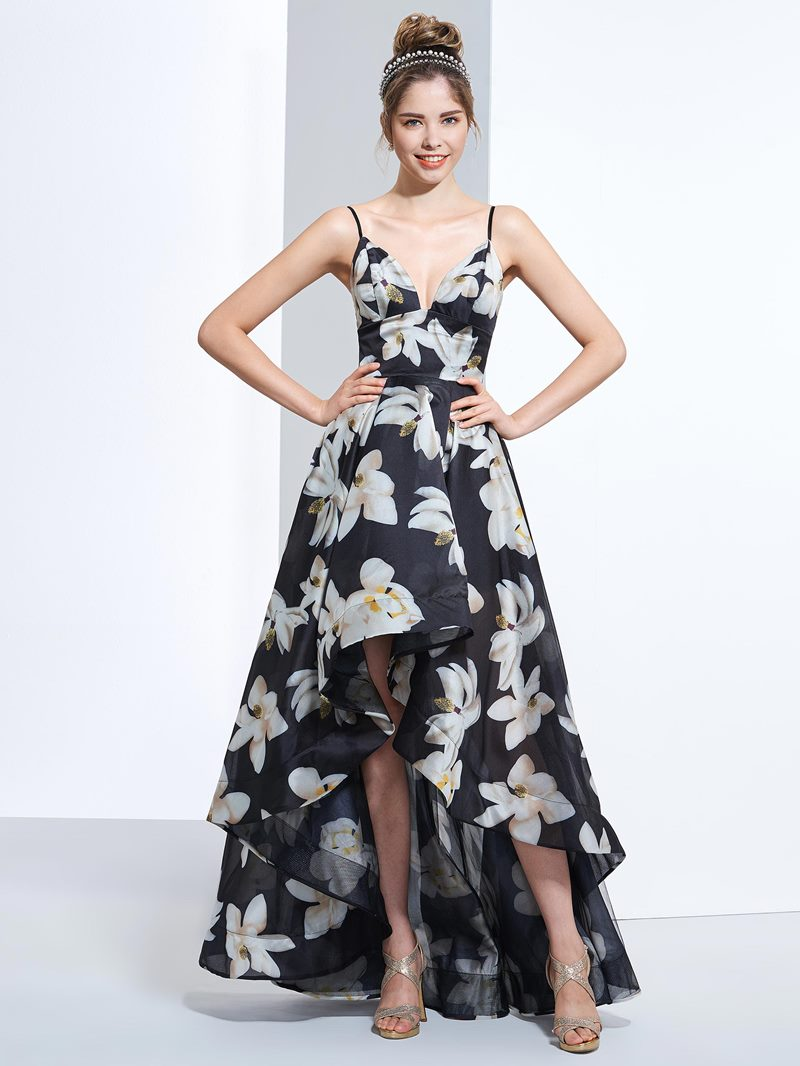Ericdress A-Line Spathetti Straps Printed Prom Dress