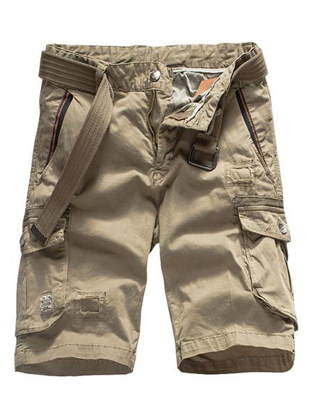 Milanoo Grey Cargo Shorts Men Cotton Pockets Casual Shorts