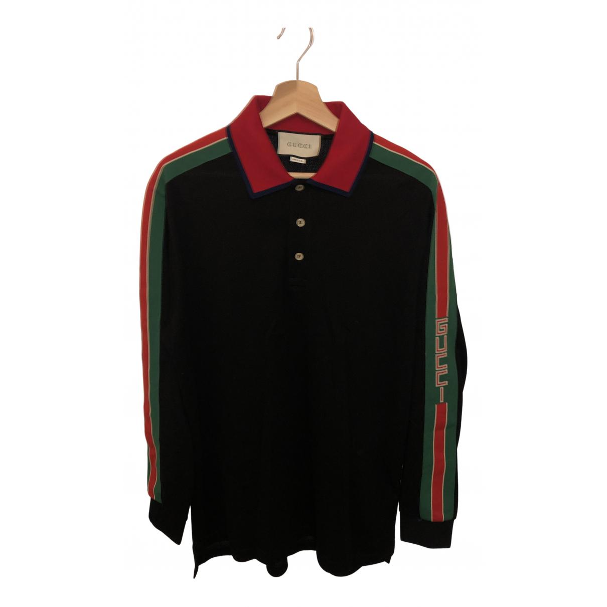 Polo en Algodon Negro Gucci