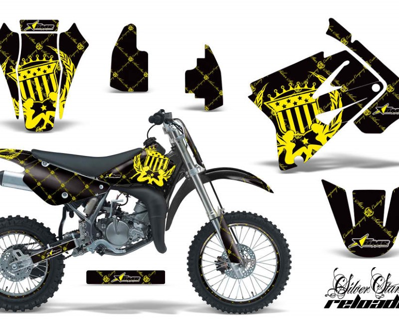 AMR Racing Graphics MX-NP-SUZ-RM85-02-16-SSR Y K Kit Decal Sticker Wrap + # Plates For Suzuki RM85 2002-2016?RELOADED YELLOW BLACK