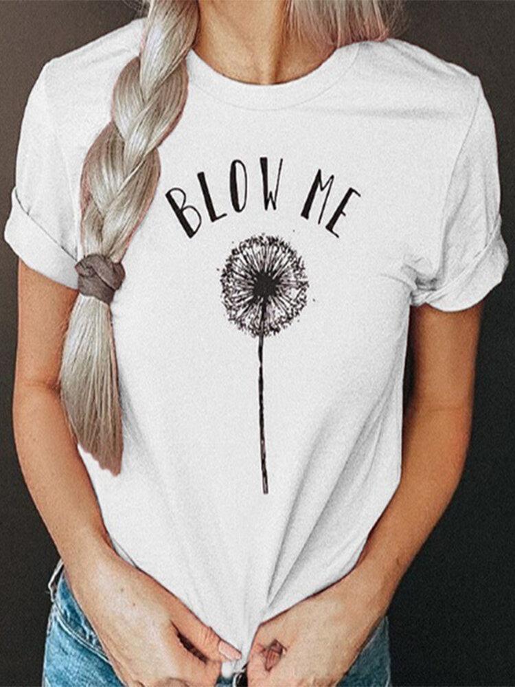 Dandelions Letter Print O-neck Casual Plus Size T-shirt