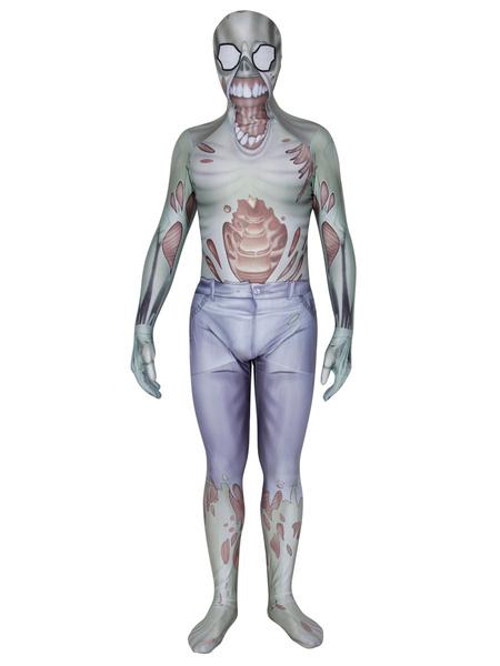Milanoo Disfraz Halloween Disfraz de Halloween Zentai Grey Lycra Spandex Mono unisex Carnaval Halloween