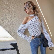 Bluse mit asymmetrischem Kragen, Punkten Muster und Rueschenbesatz