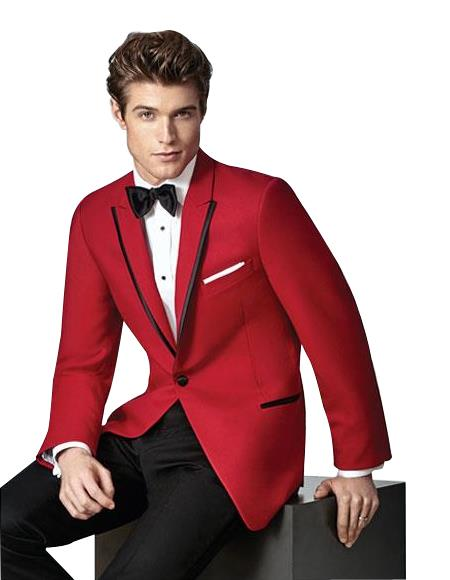 Mens Single Breasted 1Button Red SlimFit Peak Lapel Suit