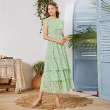 Minzgruen Rueschen Einfarbig Romantisch Kleider