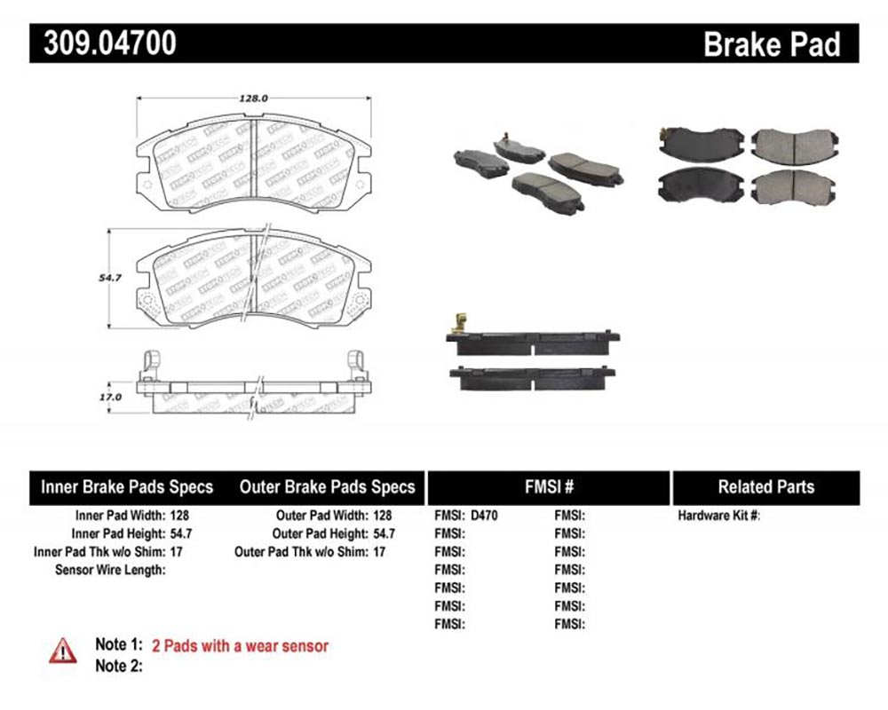 StopTech 309.047 Sport Brake Pads with Shims/Hardware Subaru Front