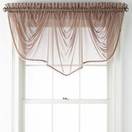 Home Expressions Lisette Sheer Imperial Beaded Valance, One Size , Pink