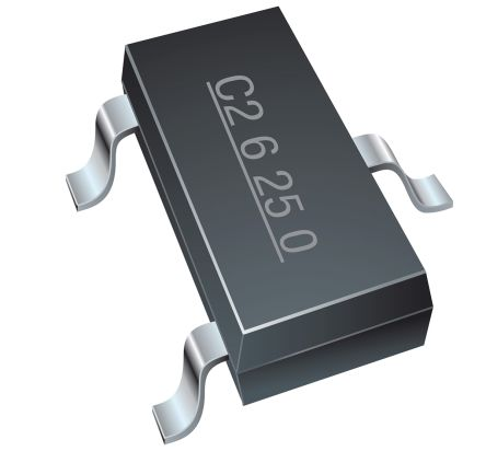 Bourns CDSOT23-T24CAN-Q, Dual-Element Bi-Directional TVS Diode Array, 3-Pin SOT-23 (3000)