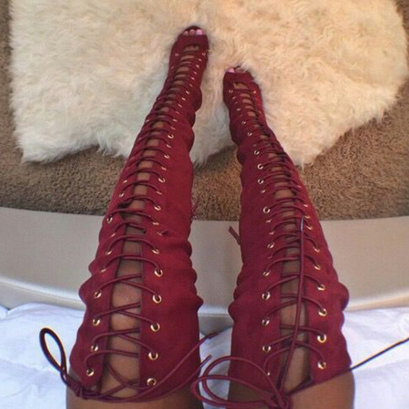 Ericdress Red Lace up Peep Toe Thigh High Boots