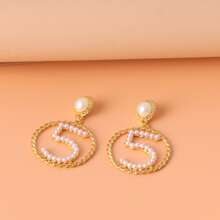 Faux Pearl Number Decor Drop Earrings