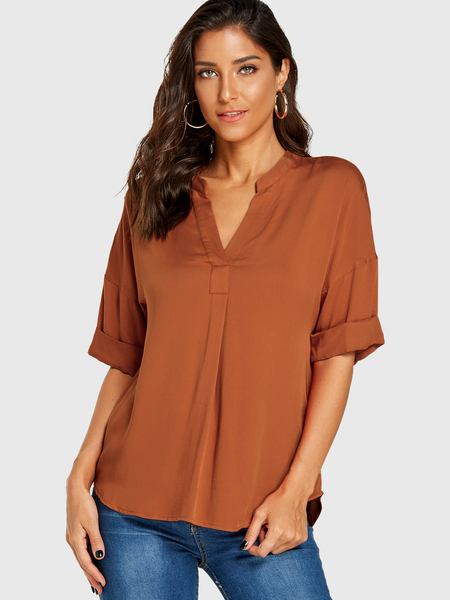 YOINS Dark Orange V-neck Long Sleeves Blouse