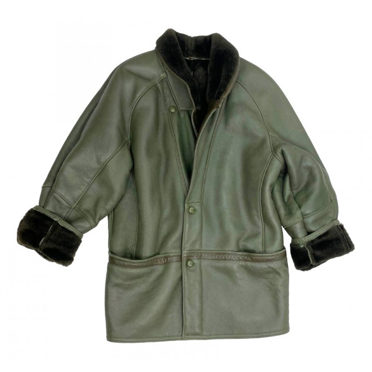 - Manteau Epaulettes pour femme en mouton - vert