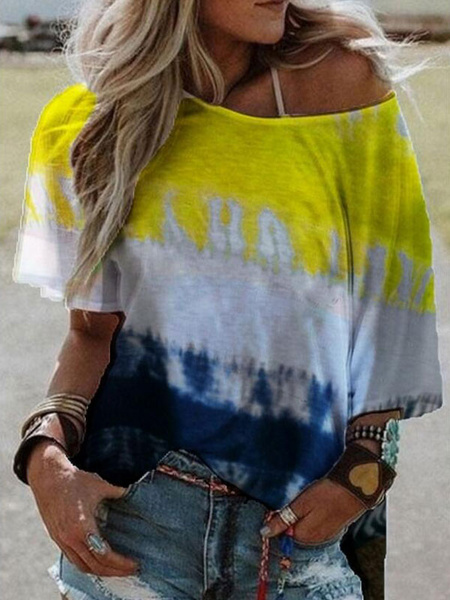 Milanoo Women Tees Yellow Ombre Jewel Neck Polyester Casual Summer Tee