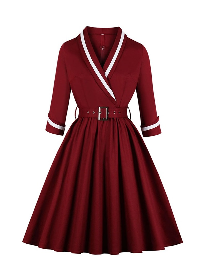 Ericdress Mid-Calf V-Neck Three-Quarter Sleeve Regular A-Line Dress