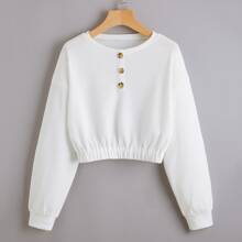 Drop Shoulder Half Button Crop Sweatshirt