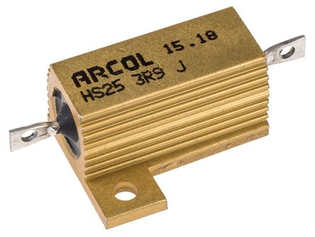 Arcol HS25 Series Aluminium Housed Axial Wire Wound Panel Mount Resistor, 3.9Ω ±5% 25W