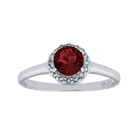 Faceted Genuine Garnet & White Topaz Sterling Silver Ring, 7 , No Color Family