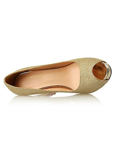 Milanoo Gold High Heels Glitter Peep Toe Women's Stiletto Slip On Pump Shoes