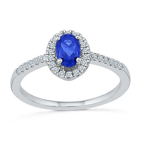 Womens 1/6 CT. T.W. Lab Created Blue Sapphire Sterling Silver Cocktail Ring, 6 , No Color Family