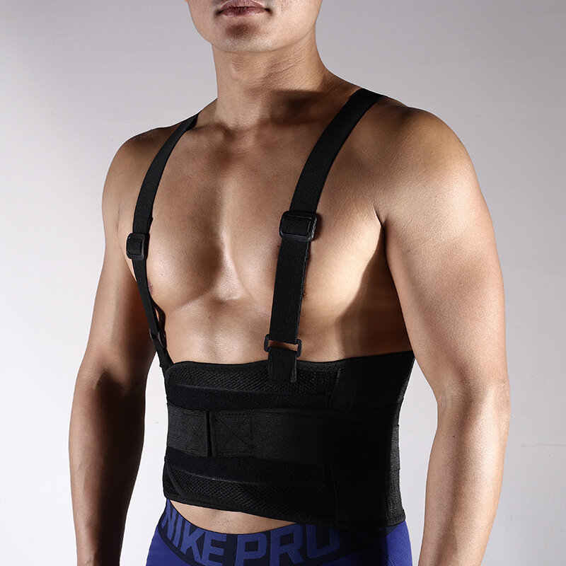 Sport Breathable Adjustable Waist Back Belt Protective Gear Pain Relief Waistband Support Black