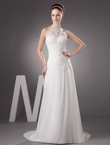 Milanoo White Sheath Halter Beading Lace Chiffon Wedding Dress